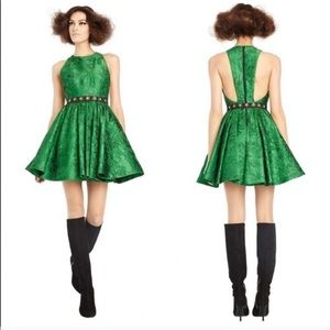 "Alice & Olivia ""Tevin"" emerald jacquard dress 6"